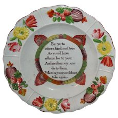 Rare Pratt Pearlware Childs Plate  GOLDEN RULE Staffordshire England c1820