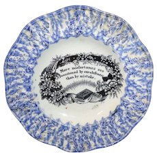 Spatterware Childs Motto Plate  CARELESSNESS and MISTAKE Patterson Newcastle England c1820