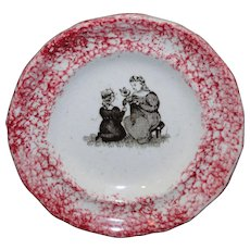 Toy Spatterware Sponge Transfer Cup Plate ~ Playing with Dolls 1810 Staffordshire