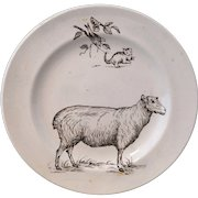 Rare SHEEP & CAT after Kate Greenaway Childs Transferware Plate Staffordshire England c 1880