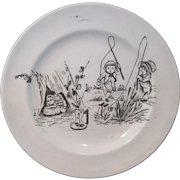 Naughty and Playful Childhood Amusements ~ Transferware Plate after Kate Greenaway  Staffordshire England c 1880