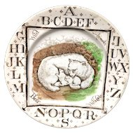 1880 ~ Wild Animals ~ Polar Bear + Cubs ~ ABC Plate