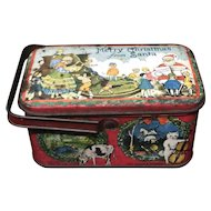 Merry Xmas Santa  Nursery Rhyme Tin Lunch Box 1925 Tindeco