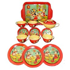 KRAZY KAT Original Red Tin Litho Tea Set with Tray  J Chein and Co USA c1940