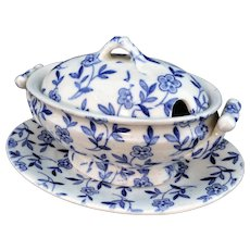 Childs Cobalt Flow Blue 3pc Tureen DAISY Ridgway 1890 Staffordshire