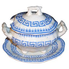 Pearlware Childs 3pc Tureen ATHENS GREEK KEY c1840 Staffordshire Miniature
