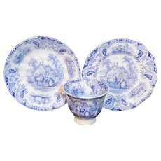 Pearlware Childs GOAT TRIO Blue Dolls Dish Set 1840 Staffordshire Transferware