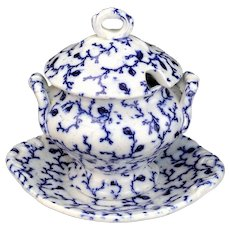 Flow Blue Hopberry Childs 3pc Soup Tureen c1840 Staffordshire Meigh Miniature