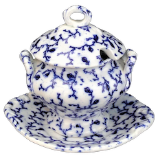 Flow Blue Hopberry Childs 3pc Soup Tureen c1840 Staffordshire Meigh Miniature