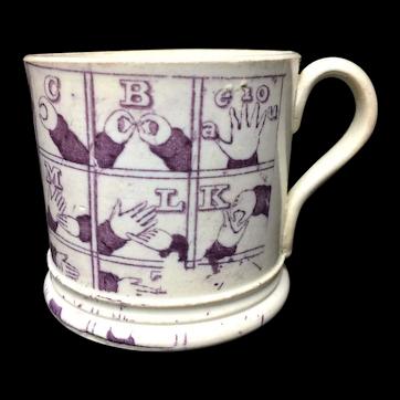 Rare Purple Sign Language Alphabet Nursery Childs Mug ~ 1830