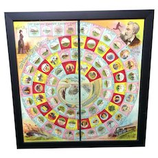 Framed Early Round The World Game Board ~ NELLIE BLY 1890