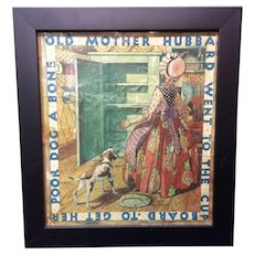 Framed Early Game Board Cover ~ Old Mother Hubbard 1920