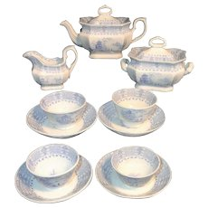 Early Childs Romantic Transferware Tea Set Blue Staffordshire England c1830