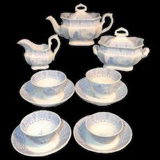 Early Childs Romantic Transferware Tea Set Blue Staffordshire England c1830