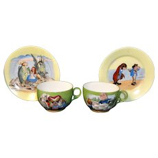 Rare Alice in Wonderland ~ Through The Looking Glass Childs Porcelain Tea Set England c1900