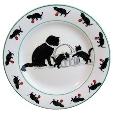 Rare Childs BLACK CATS Plate  Grimwades England c1920