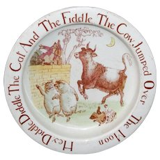 Rare CAT FIDDLE COW MOON Childs Feeding Dish Bisto England 1910