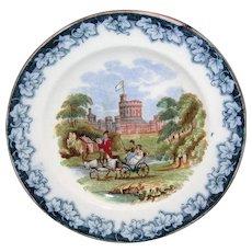 Rare Prattware Pratt Childs Plate Windsor Palace Royal Children c1850 Flow Blue