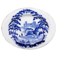 Staffordshire Childs Pearlware Platter-PASTORAL Scenery Grazing Sheep c1820