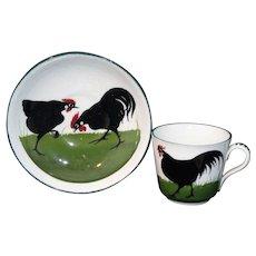 Wemyss Pountney Bristol Childs 2pc Tea Set ROOSTER COCK & HEN c1910