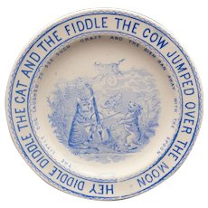 Staffordshire Child Nursery Rhyme Plate Hey Diddle Cat & Fiddle Whittaker & Co 1890