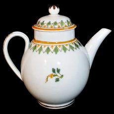 Miniature English Pearlware Painted Brushstroke Child's Teapot Staffordshire c 1800