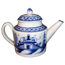 Miniature English Pearlware Chinoiserie Child Teapot  Chinese House Pagoda & Fence  Staffordshire c 1780