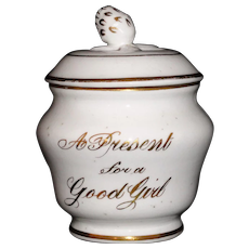 Porcelain Childs Lidded Honey Jar A PRESENT FOR A GOOD GIRL  Staffordshire England c 1910