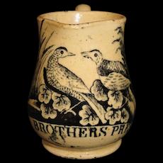 Rare Yellowware Miniature Jug A BROTHERS' PRESENT  Staffordshire England 1820