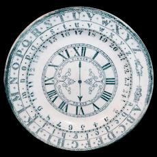 Childs ABC Alphabet School Plate Clock Staffordshire c1860