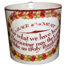 Early Creamware Childs Mug Prayer GRACE AFTER MEAT 1820