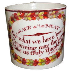 Early Creamware Childs Prayer Mug GRACE AFTER MEAT 1820