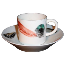 Worcester Porcelain Feather Decorated Cup and Saucer c1835 for Mortlock London