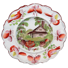 Creamware Childs Plate COTTAGE GARDEN c1810 Butterfly Bug Bird Border Staffordshire