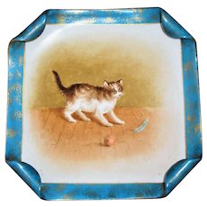 Hand Painted Portrait Plate Kitten with Ball and Feather c 1880