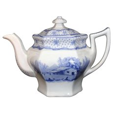 Rare American Presidential Historical Teapot ~ LOG CABIN William Henry Harrison ~ Ridgway Staffordshire 1840