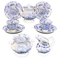 Childs English Ironstone Tea for Two Tea Set GOAT John and Robert Godwin ~ Staffordshire England c 1835 Transferware