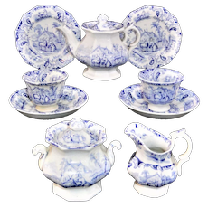 Childs English Ironstone Tea for Two Tea Set GOAT John and Robert Godwin ~ Staffordshire England c 1835 Transferware