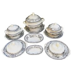 40pc Pearlware Miniature Dinner Set c1855 Morley Ashworth Black Bellflower Staffordshire