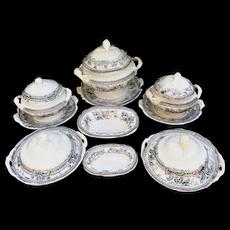40pc Pearlware Miniature Dinner Set c1855 Morley Ashworth Black Bellflower Staffordshire