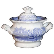 Staffordshire Childs Blue Sugar Box Sucrier  PEACOCK  Benjamin Godwin Staffordshire England c1830