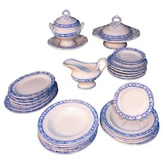 Staffordshire Childs Blue Miniature Dollhouse Dinner Set c1860