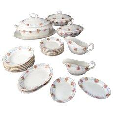 c1890 Continental Porcelain Childs Dinner Set RIBBON and ROSE