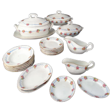 Childs English Porcelain Dollhouse Dinner Set RIBBON and ROSE c1890