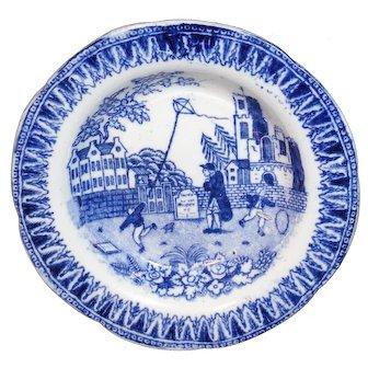 Pearlware Childs Blue Bowl KITE FLIER c1830 Hackwood Miniature Staffordshire