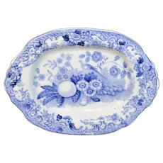 Pearlware Miniature Platter Tray Blue NIGHTINGALE Davenport 1838 Staffordshire Child