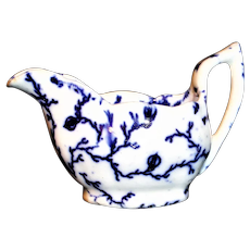 Miniature Flow Blue Hopberry Childs Gravy Tureen Boat c1840 Meigh Staffordshire