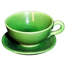Rare Micro Miniature Majolica Green Glaze Earthenware Cup & Saucer Tea Set c1890