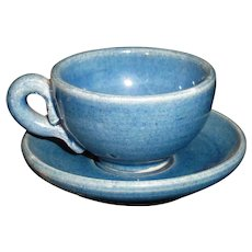 Rare Micro Miniature Majolica  Blue Glaze Earthenware Cup & Saucer Tea Set c1890