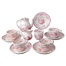 Miniature Historical Tea Set EVA 1852 Rare Staffordshire Red Childs Transferware